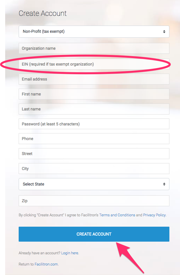 Create account screenshot with EIN field highlighted