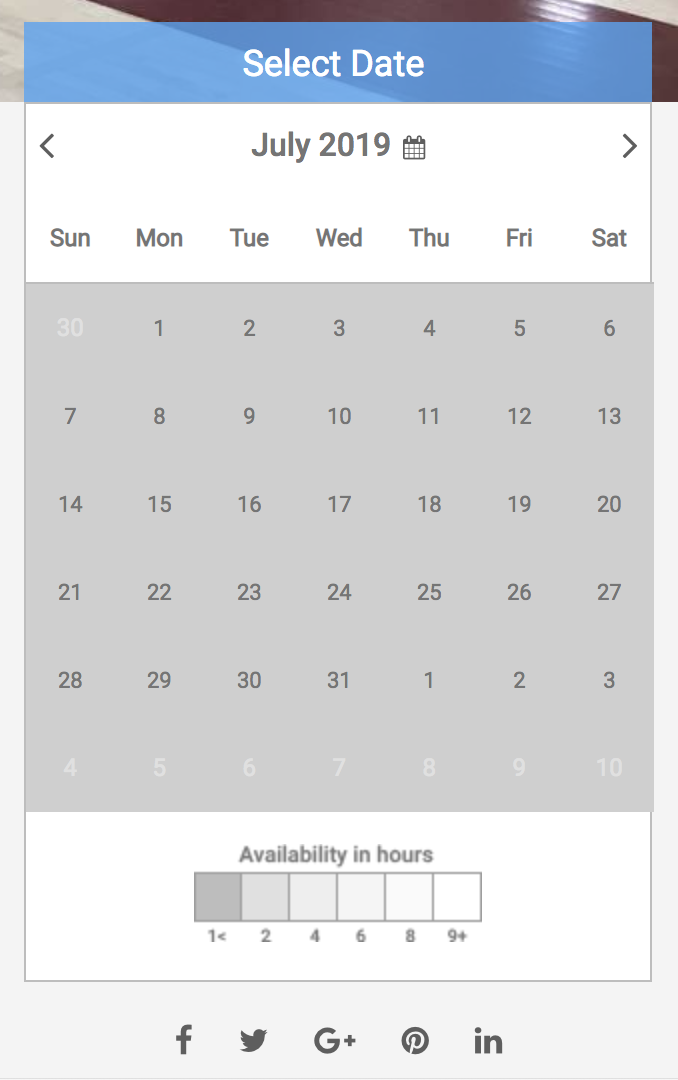Select date dialog box with no availability shown screenshot