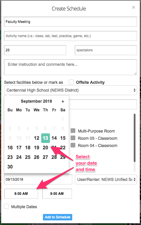 Create schedule popup screenshot with date and time selection components pointed out
