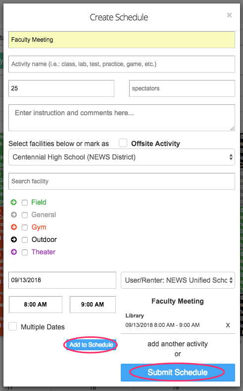 Create schedule popup screenshot with add to schedule and submit schedule buttons circled