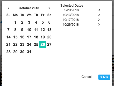 Date selection screenshot with multiple dates selected