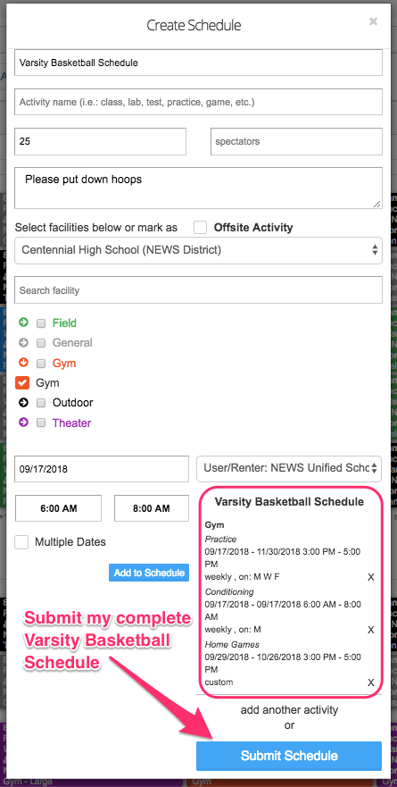 Create schedule popup screenshot with Varsity Basketball Schedule circled and Submit Schedule button pointed out