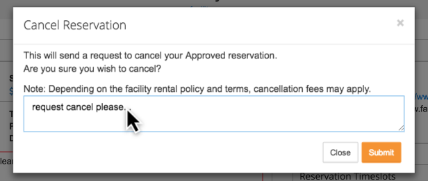 Cancel reservation comment box screenshot