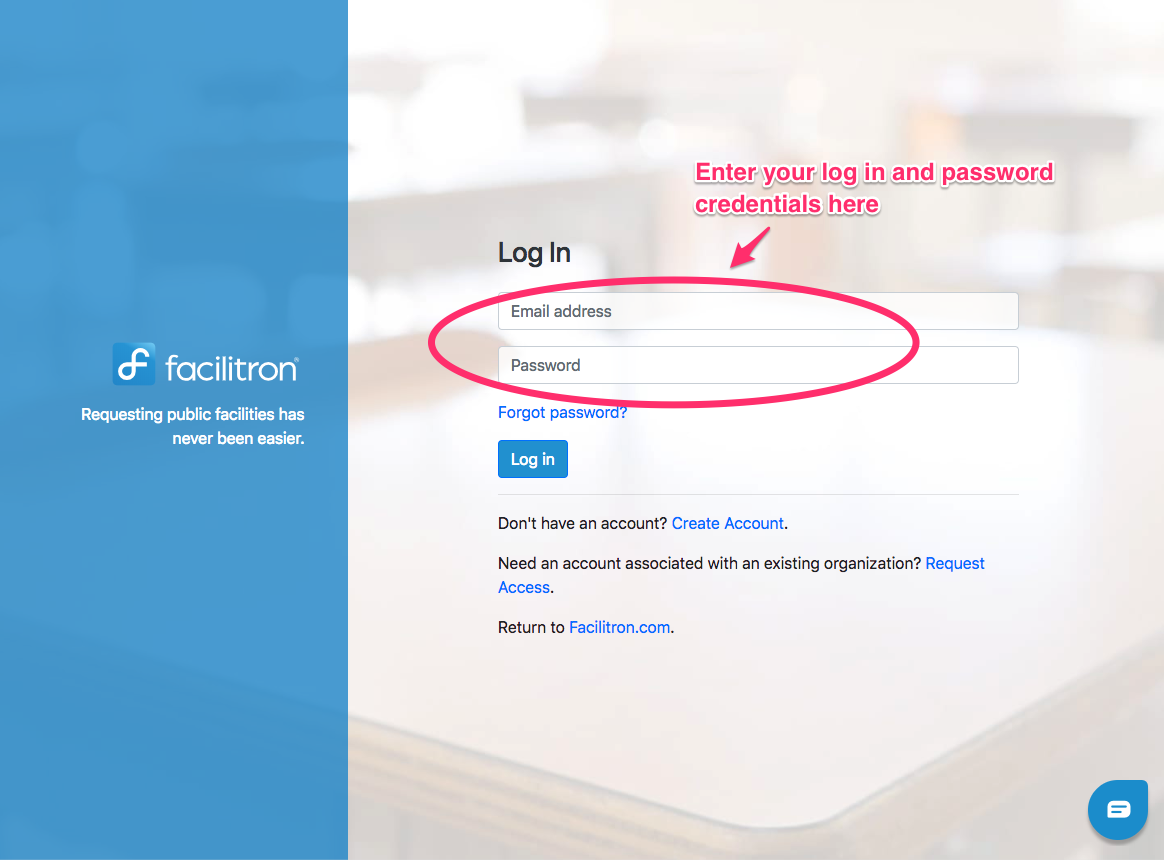 Screenshot of login screen with email address and password fields circled; user must enter log in email and password credentials here to log in
