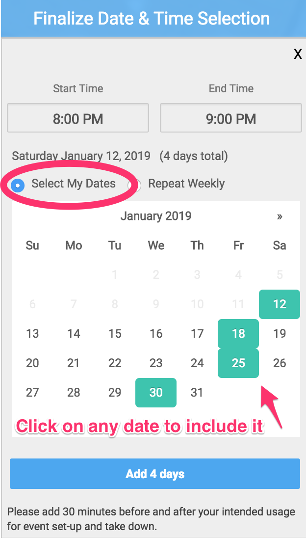 Finalize date and time selection dialog screenshot with select my dates radio button circled