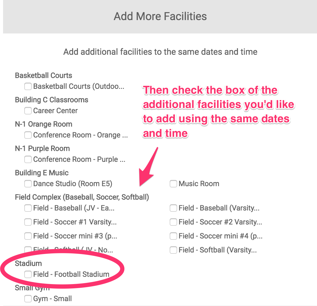 Add more facilities dialog box additional facilities screenshot with the stadium facility circled