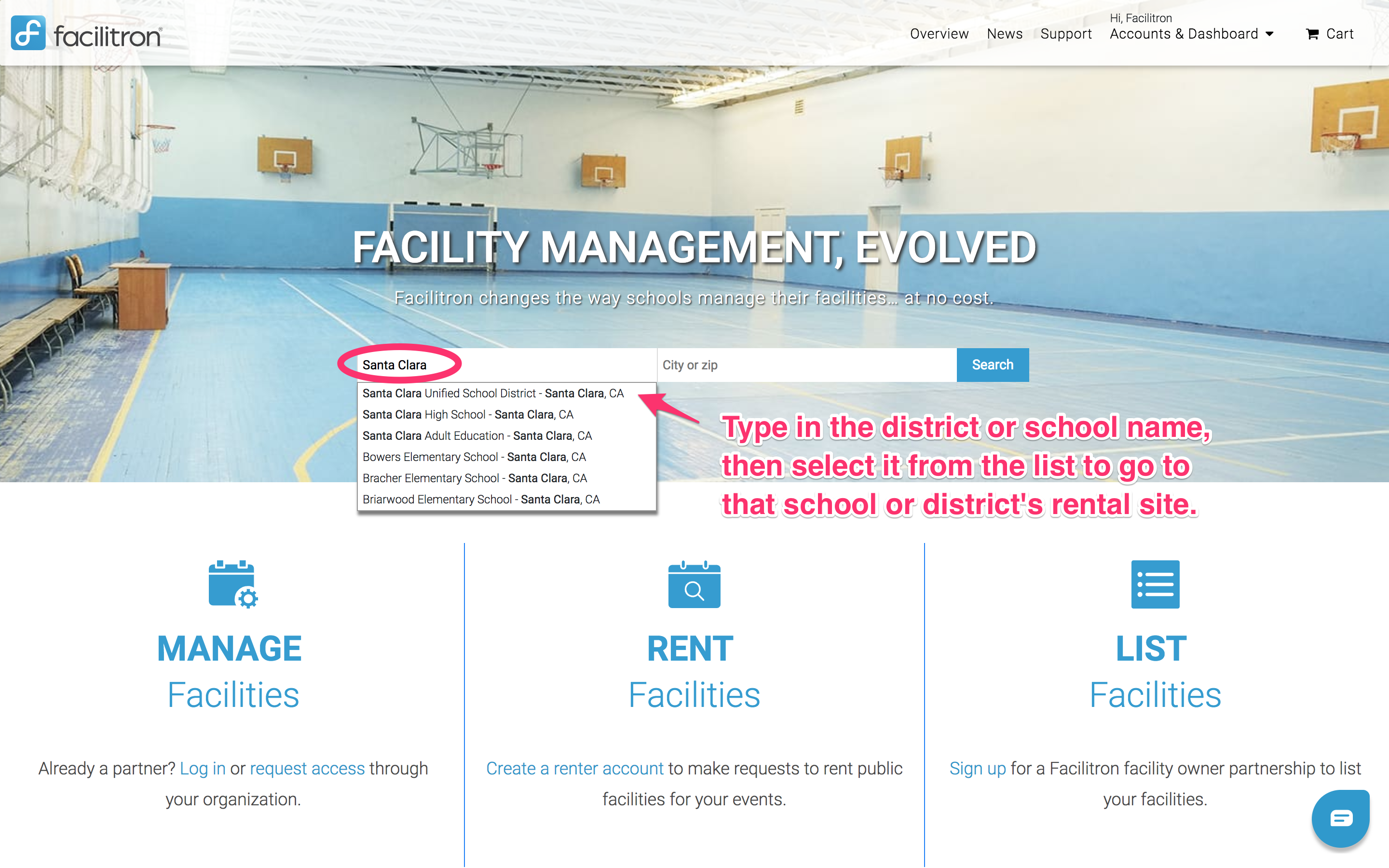 Facilitron landing page screenshot with search box circled and school name typed in