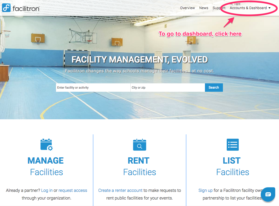 Facilitron homepage screenshot with Accounts and Dashboard link circled