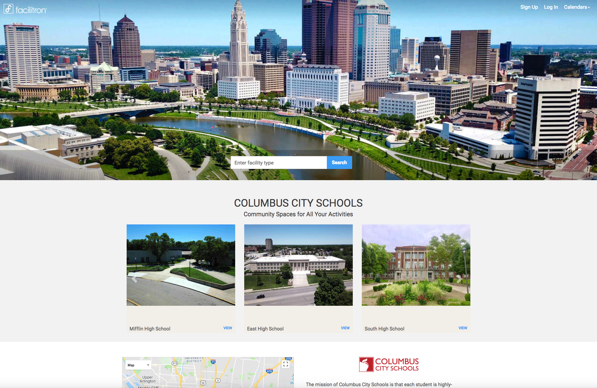 Custom district rental site screenshot