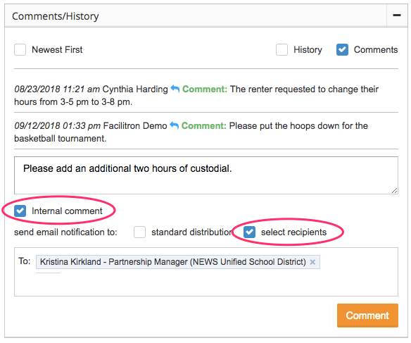 Comments/History section screenshot with Internal comment and select recipients check boxes circled
