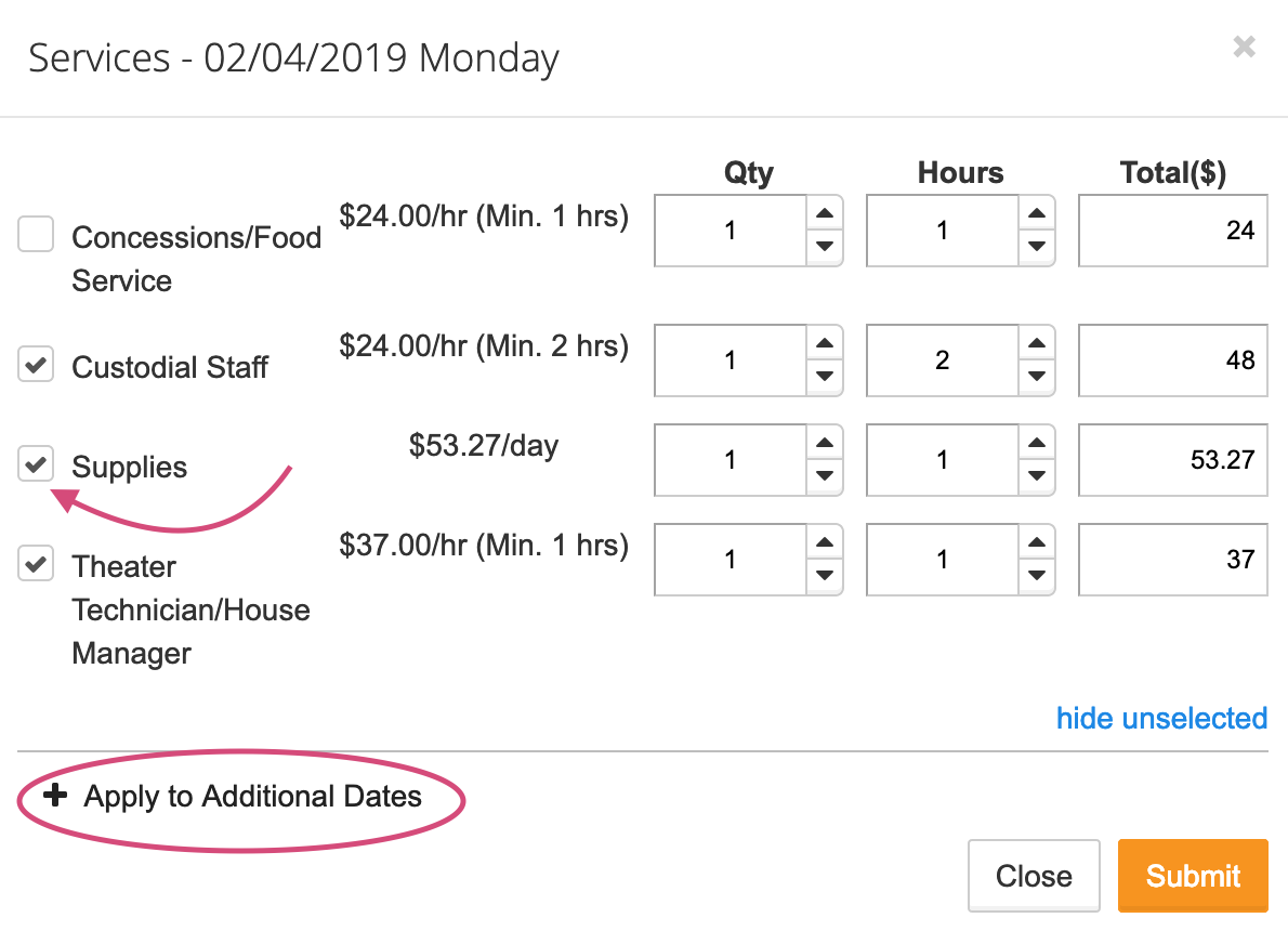 Services section screenshot with Apply to Additional Dates element circled and supplies checkbox pointed out