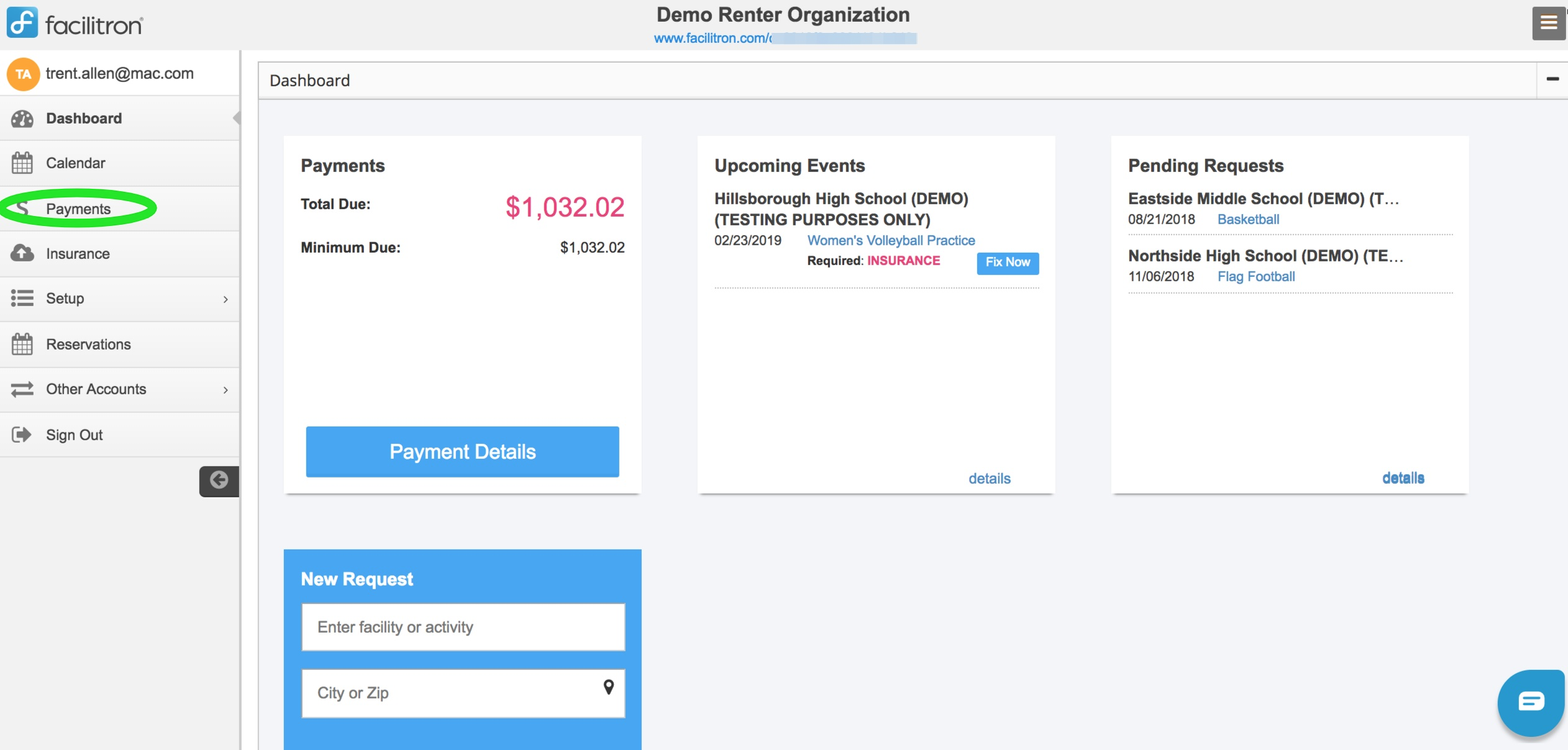 Account dashboard screenshot with payments button circled