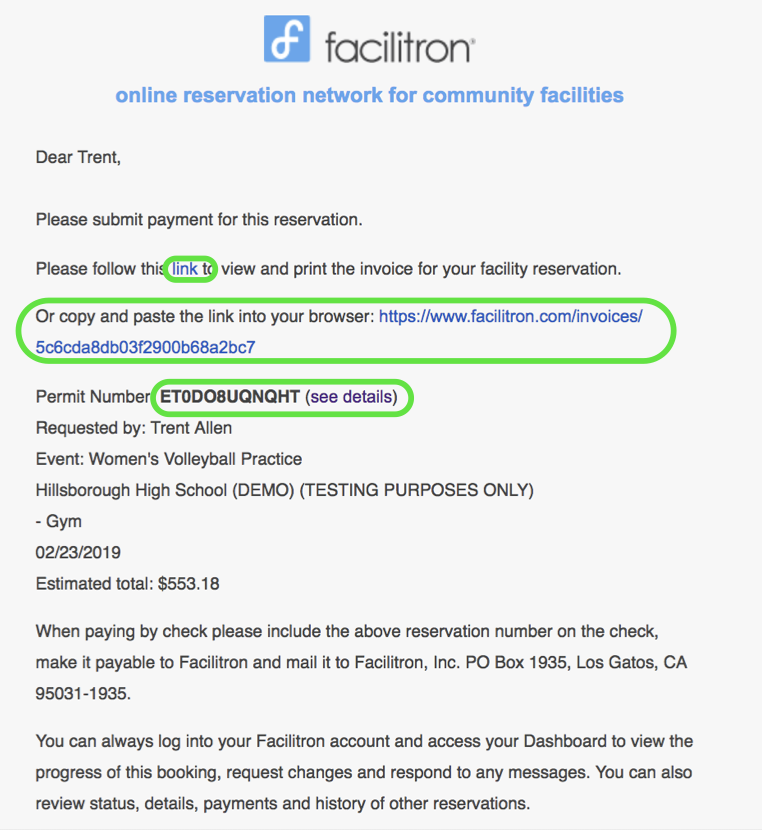 Invoice page screenshot with invoice link and permit number circled