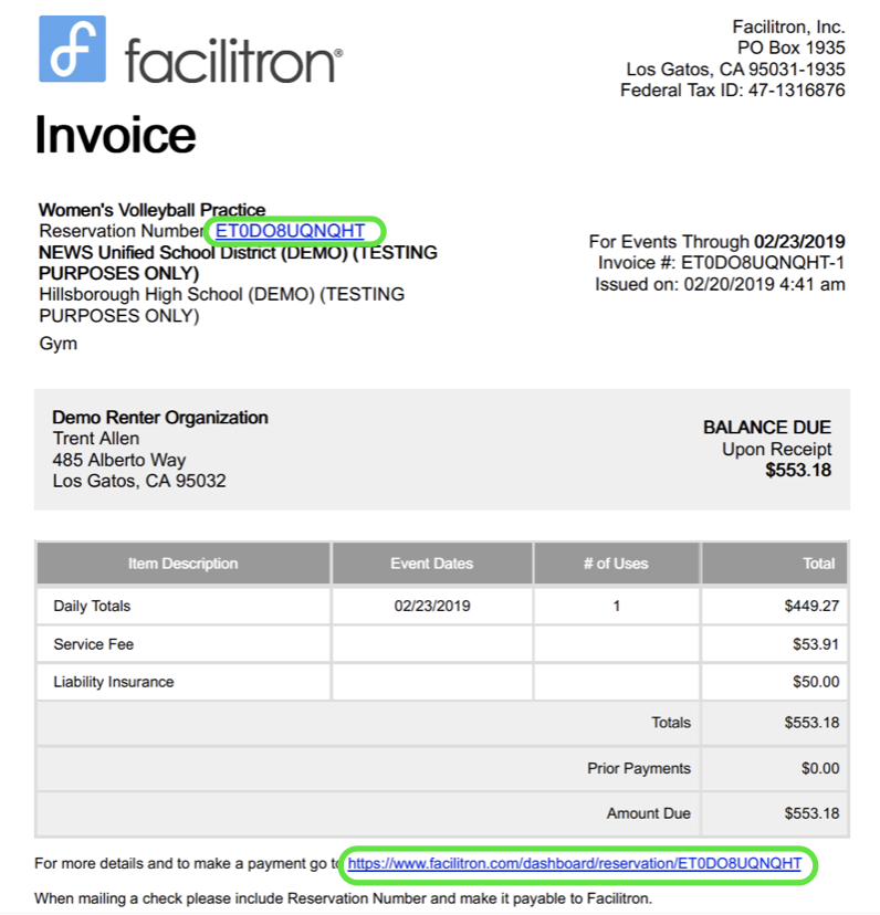 Invoice detail screenshot with reservation number and payment page url circled