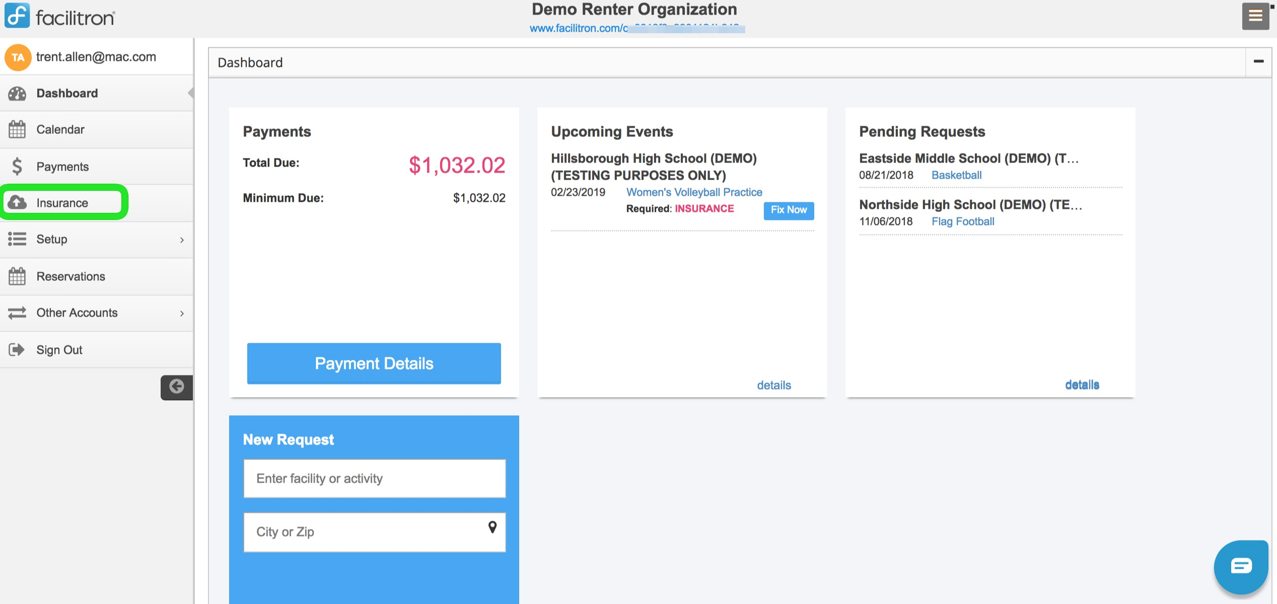 Account dashboard screenshot with insurance button circled