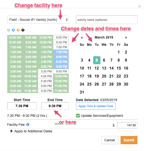 Time and date selectors screenshot with major components pointed out