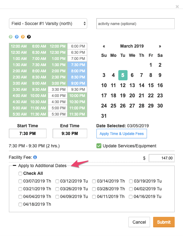 Time and date selectors screenshot with Apply to Additional Dates pointed out