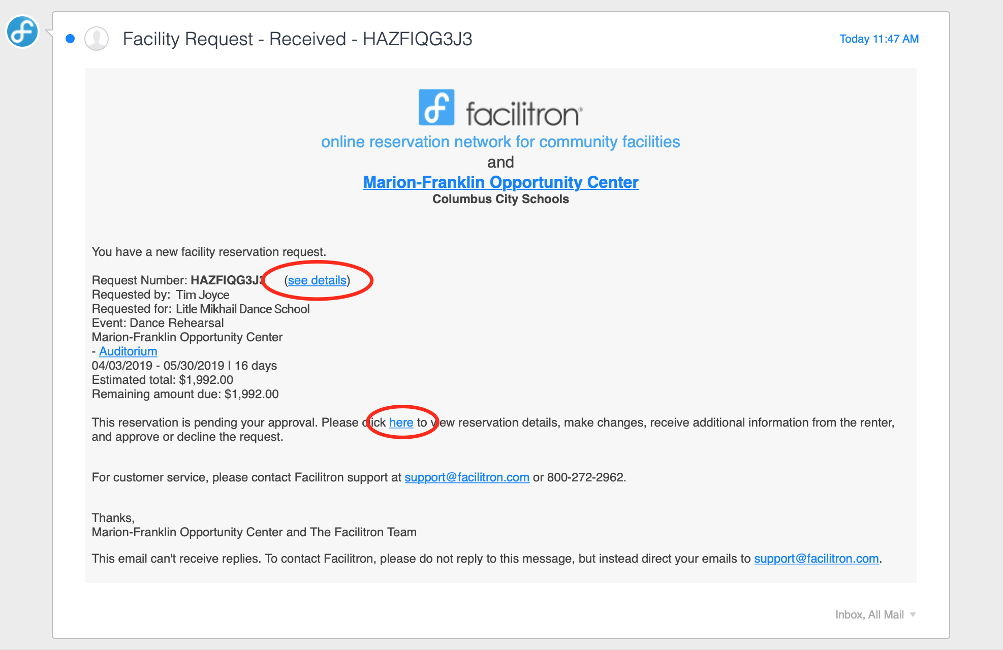 Reservation notice email screenshot with links to reservation details circled