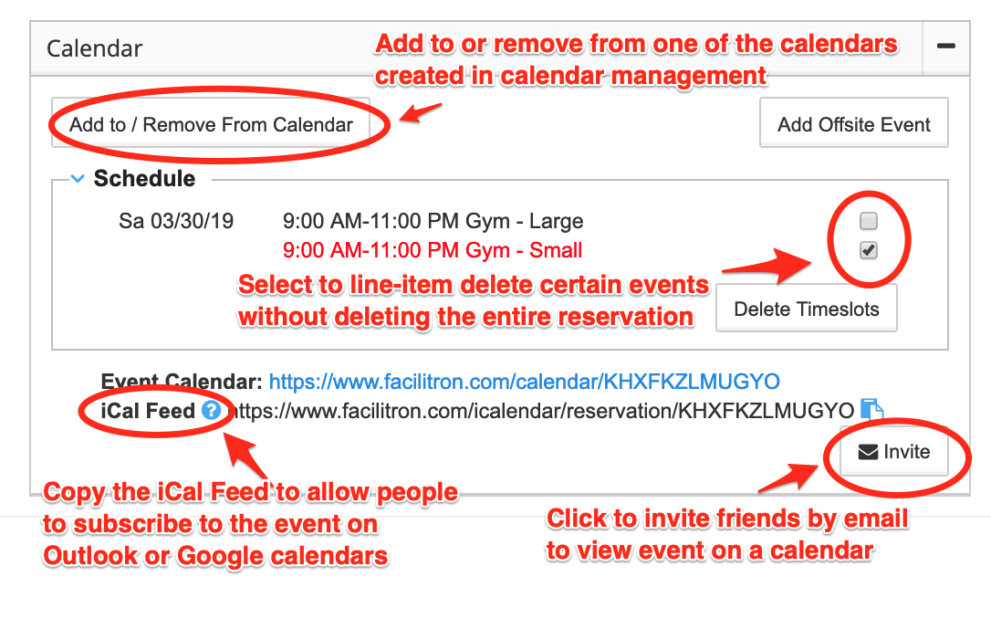 Calendar management widget screenshot with main components circled and annotated