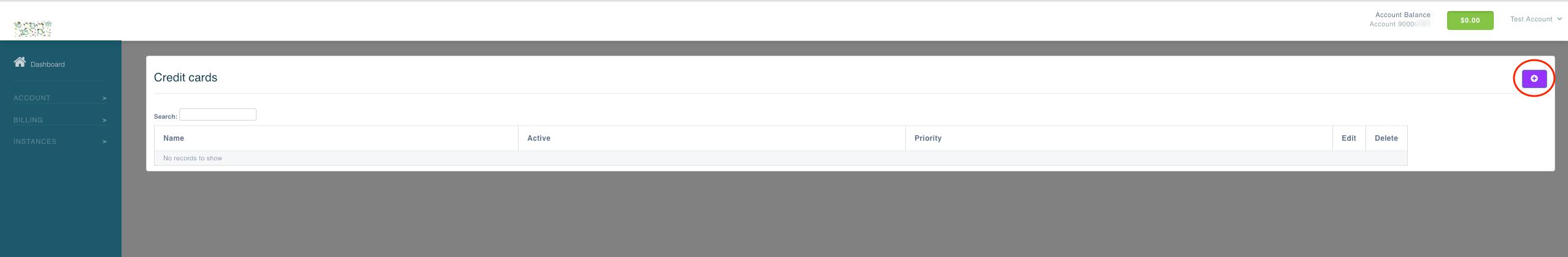 credit card main page screenshot add new credit card button circled