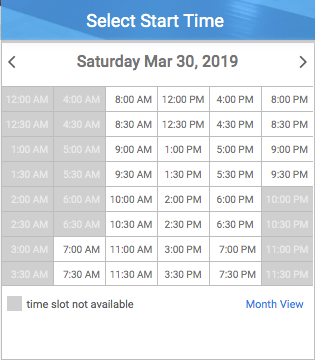 Select start time form