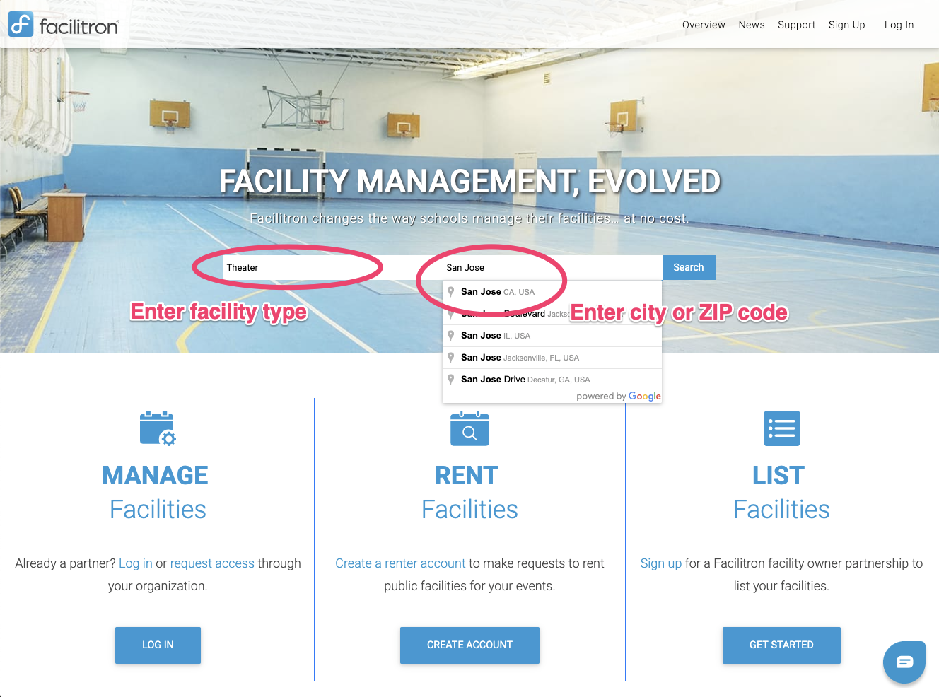 Screenshot: Facility search form screenshot with facility type and location boxes circled