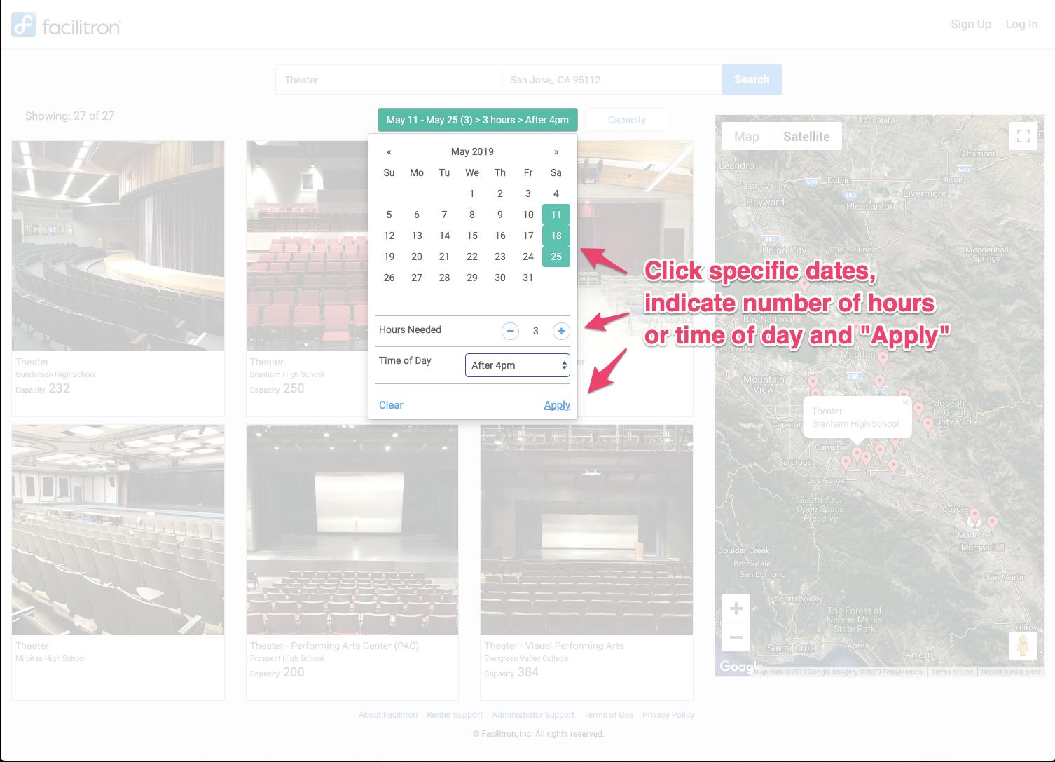 Screenshot: Filter date calendar screenshot
