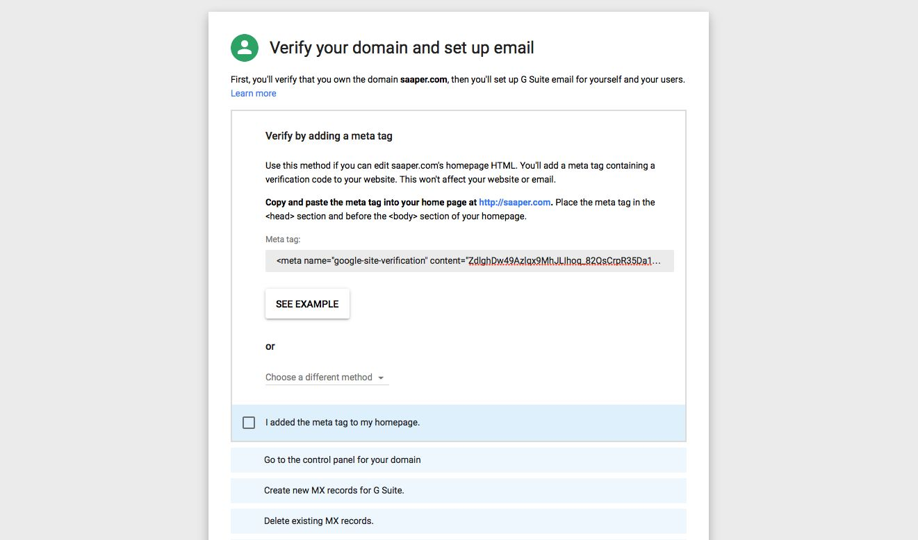 G Suite verify domain name