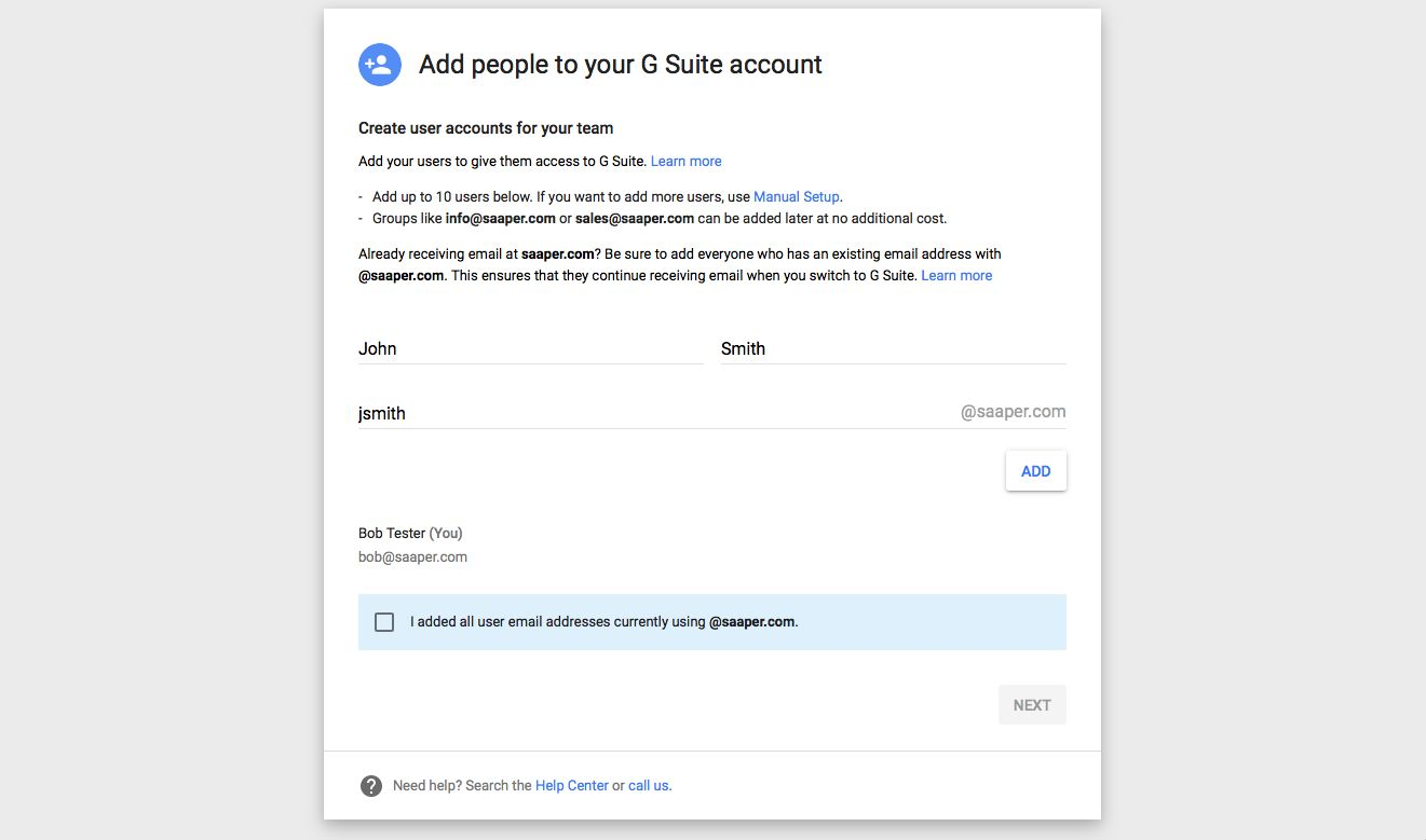 Add users to G Suite