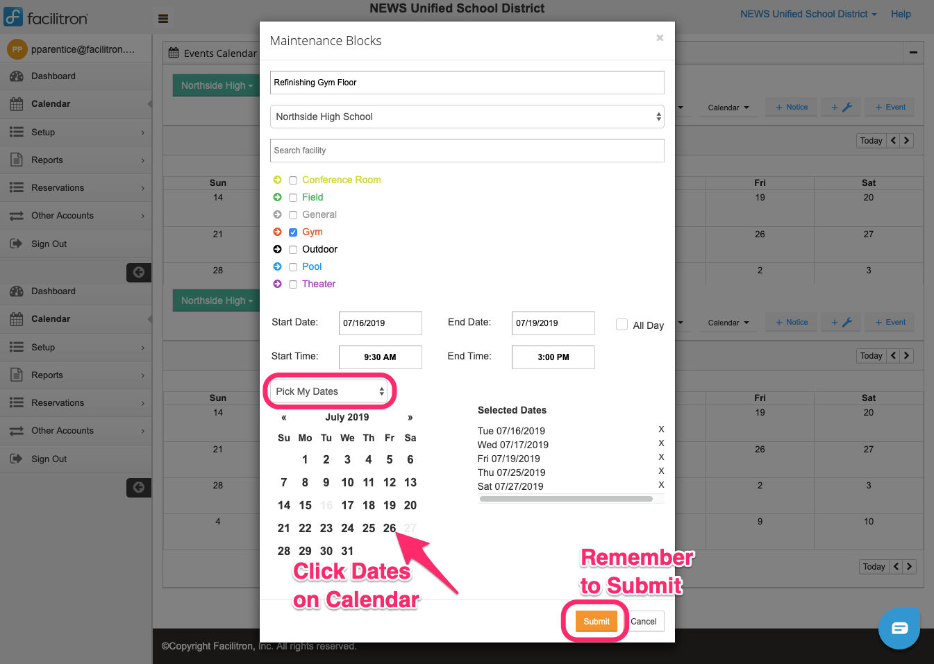 Maintenance blocks popup screenshot with pick my dates dropdown, dates calendar, and Submit button circled