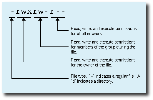 Diagram of the text permissions