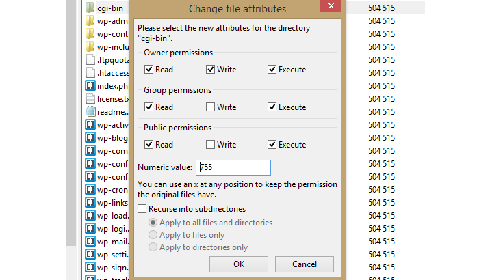 """The """"Change file attributes"""" pop-up window in FileZilla."""