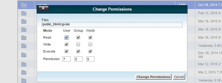 """The """"Change Permissions"""" pop-up shows a folder permission of 755 with the option to change it."""
