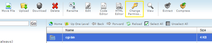 """The """"Change Permission"""" icon is highlighted in cPanel's file manager."""