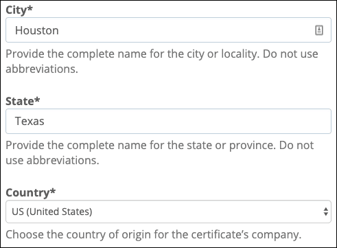 Enter city, state, and country