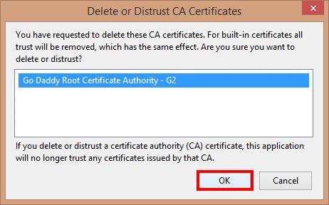 Delete or Distrust CA Certificates