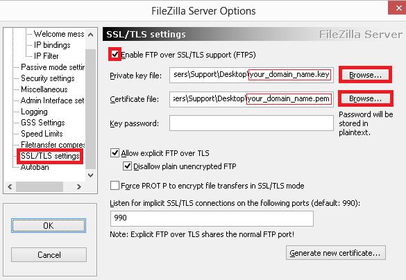 filezilla ssl tls settings