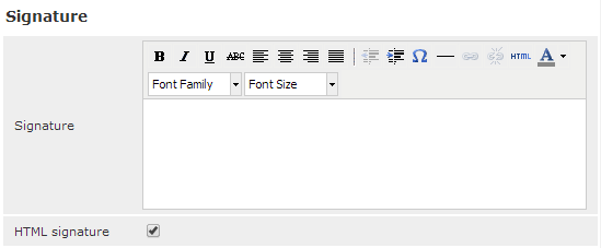 Formatting a signature in webmail