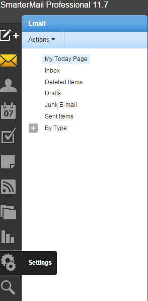 Going to settings on smartermail