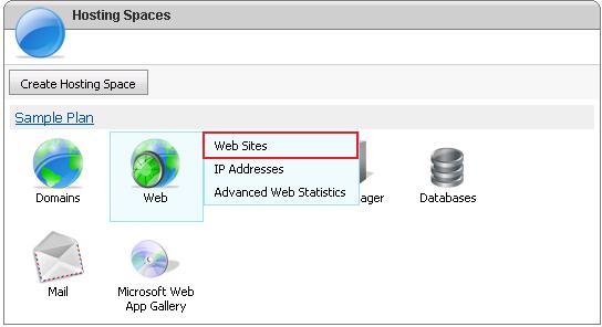 Select Websites Option from WebsitePanel