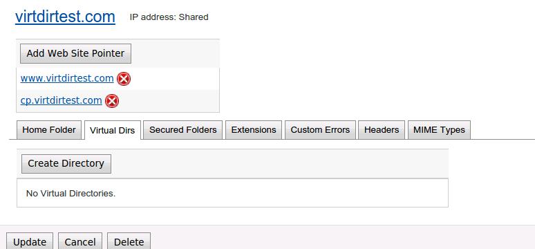 Click on Virtual directory Tab
