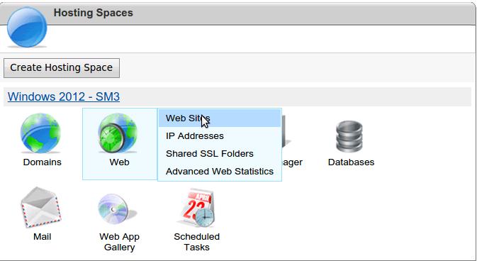 Select website from websitepanel