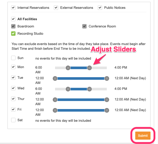 Date/Time selector screenshot with time sliders pointed out and Submit button circled