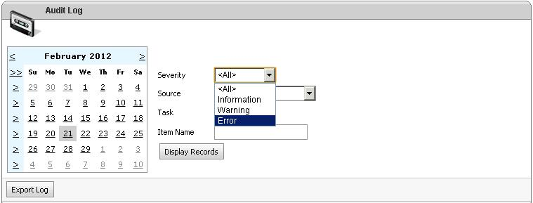 Select Error from Severity Option