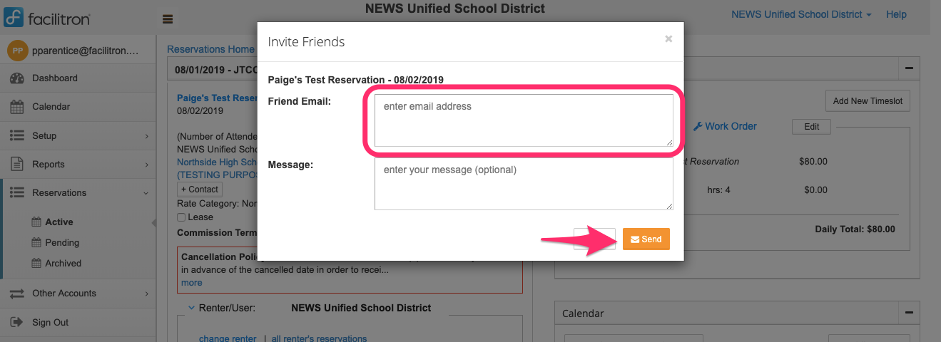 Invite Friends popup screenshot with friend email input circled and Send button pointed out