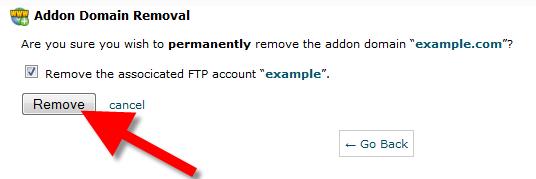 cPanel delete domain