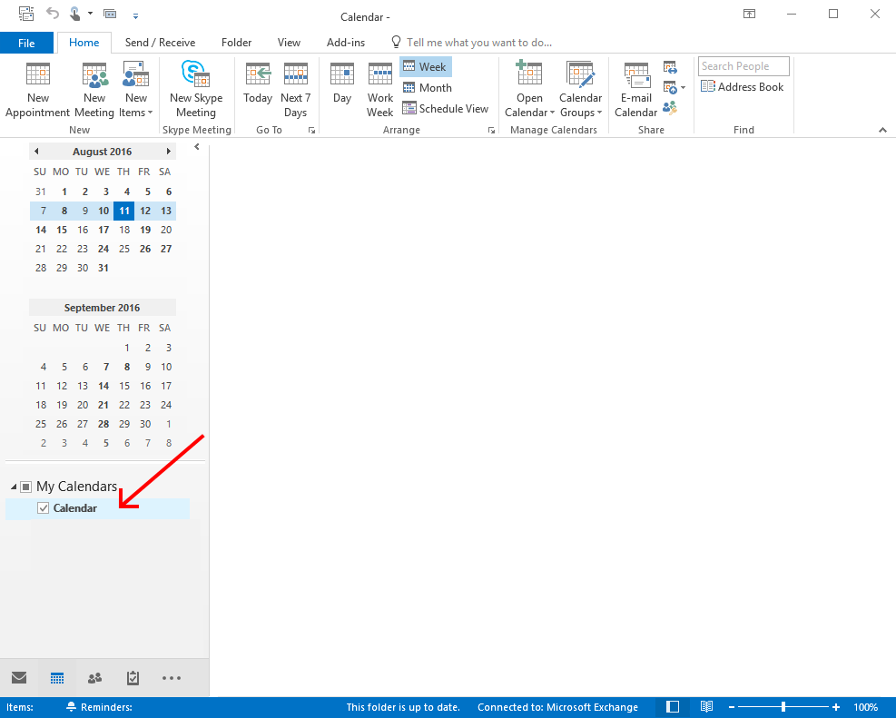 Select Calendar in Outlook