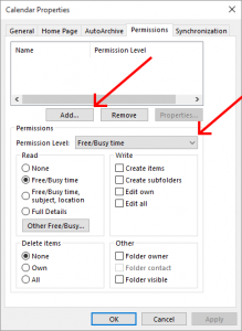 Outlook calendar permissions