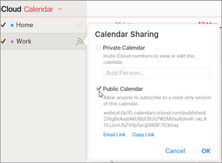 Public calendar settings in iCloud
