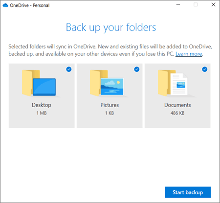 Screenshot of the Set up protection of important folders dialog box in OneDrive